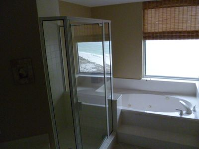Master bath with jetted tub and large shower