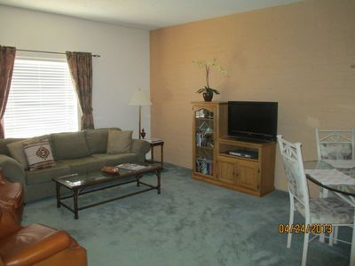 LRoom with two leather recliners, well made sofa, new HDTV, comfort for everyone