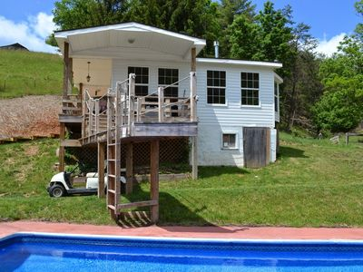 Cottage, pool and jumping platform.