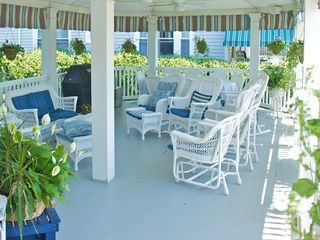Avon-by-the-Sea house photo - Porch with propane grill and dining table, ample seating for all! Propane incl.