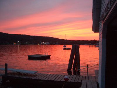 Center Harbor cottage rental - Sunset view of Center Harbor from waterfront photographed by one of our guests