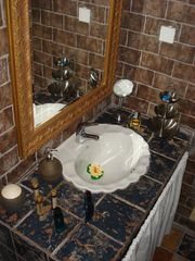 Oia villa photo - Bathroom (upper level). Every detail looked at to make you feel comfortable.