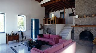 Hydra Island villa photo - Bright livingroom with fireplace