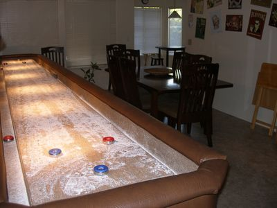 Shuffle Board Table in Game Room