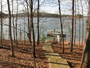 An improved walkway provides an easy walk to and from the dock/lake.