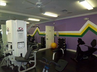 Air Conditioned Exercise center with treadmills, eliptical, free weights etc.