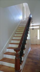 Beautiful walnut bannister and original wide-board