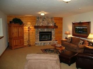 Jackson Hole house photo - down stairs rec. room with TV, adjacent to bunk room
