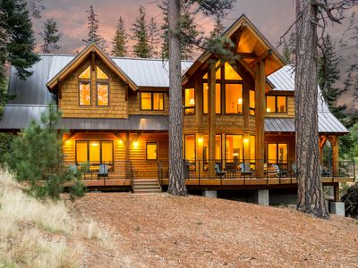 Architecturally spectacular and spacious Creekside Cabin overlooks Tumalo Lake.