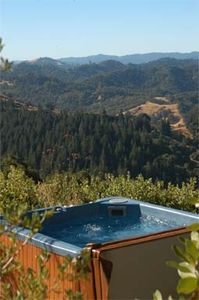 Jacuzzi at The Inn overlooking 7 mountain ranges