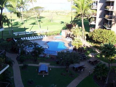 Kihei condo rental - Outstanding Pool and BBQ area, putting green, shuffleboard, tennis, volleyball