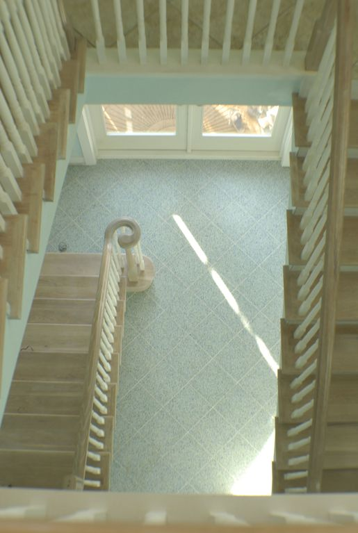 View from top of interior stairs