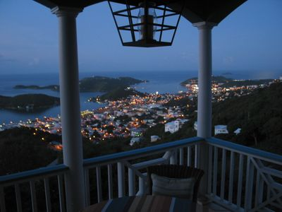 Enjoy the lights of Charlotte Amalie from your dining vantage point