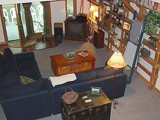 North Woodstock house photo - Cathedral Great Room w Wood stove & Deck