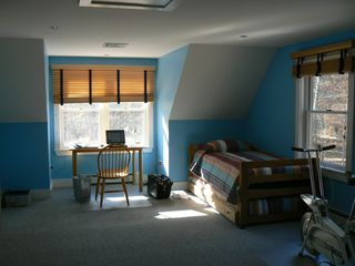 Vineyard Haven house photo - Upstairs bedroom with two twin beds and full size bed