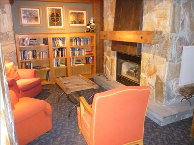 Adult Lounge with Fireplace, Library, Computer, near family Movie Theatre