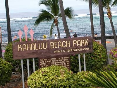 Kona's famous snorkel and surf beach.Makolea condos are across the street