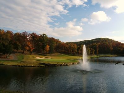 Golf course and lake vistas during fall