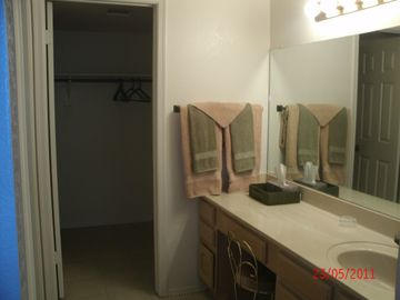 Master Bathroom walk in shower, all linens provided