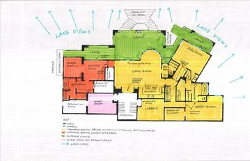 Yellow and Orange Area is your Indoor space -Green is your Lanai