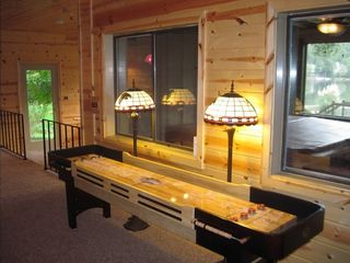 Lake Arrowhead house photo - Game room includes a new tabletop shuffleboard, granite wet bar.