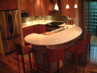 Michigan City house photo - Kitchen: cultured granite island seats 4