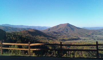 View from cabin into Great Smoky Mountain National Park