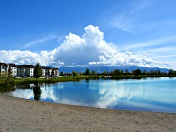 Bozeman house rental - The pond and beach right behind our house