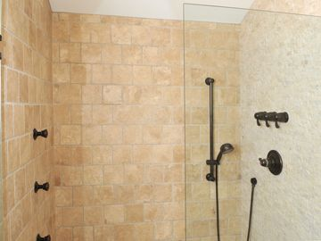 Master shower with multiple body sprays.