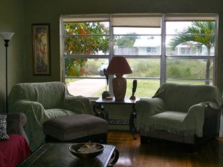 Daytona Beach bungalow photo - The comfortable living room overlooking Broad Avenue.
