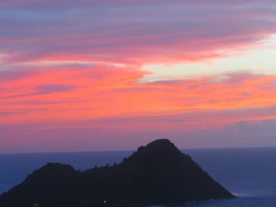 PIGEON ISLAND NATIONAL PARK AT SUNSET FROM OUR BEDROOM DECK