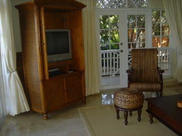 TV/DVD player armoire in living room
