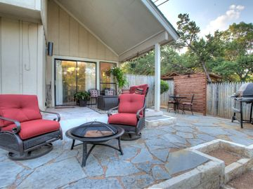rocking swivel chairs and fire pit
