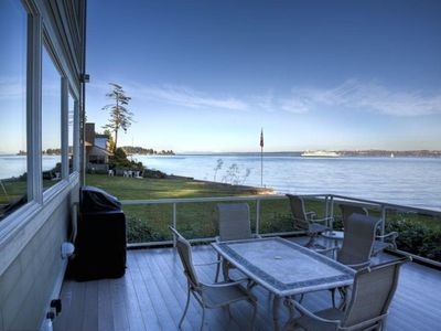 Bainbridge Island house rental - Patio deck with BBQ and is shaded in the afternoon.
