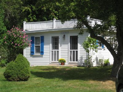 One Bedroom Guest Cottage with fireplace and new stainless steel appliances.