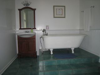 Three Oaks house photo - 1st floor bath w/ vintage clawfoot and heated floors.