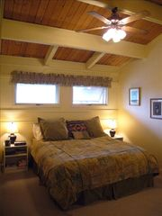Steamboat Springs townhome photo - One of two Master Bedrooms with king bed; fireplace; private bath; Vizio TV.