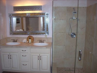 Master bath ensuite walk in shower, separate tub, separate toilet room