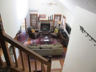 Tannersville townhome photo - Living Room with Fireplace and 42' Flatscreen HiDef TV with Blu Ray