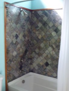 Guest suite tiled shower/tub with extra deep soaking tub