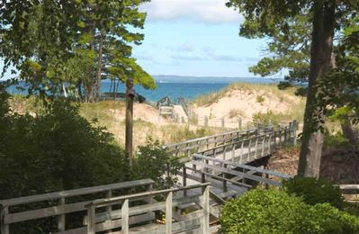 Glen Arbor condo rental - footbridge to the lake over canal