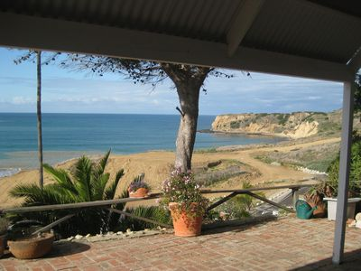 Views of this untouched stretch of coastline from the private back patio.