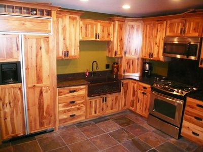 Hickory Kitchen, Large fridge, gas range, copper sink