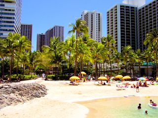 Waikiki condo photo - View from Kuhio Beach of Waikiki Banyan's perpendicular twin towers -center left