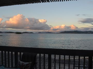 Sunset over the British Virgin Islands and St John from our patio