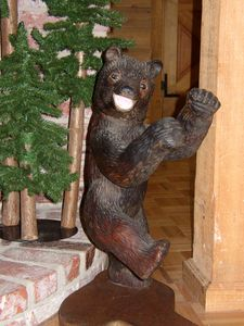 Come up and visit the Dancing Bear! (One of a kind original wood carving)