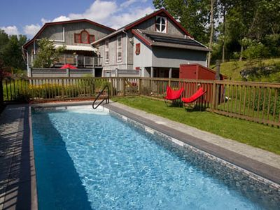 Bennington apartment rental - Lap Pool is right outside your door