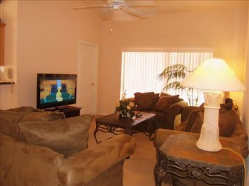 Family room with big screen HDTV