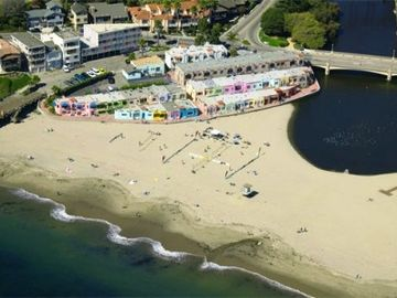 Capitola condo rental - The Capitola Venetians from the Air.....We are the third home from the bottom left.......Just 12 STEPS from the sandy beach!