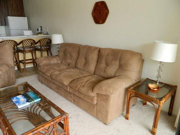 Recently remodeled with new couch and chair, carpet and tile.